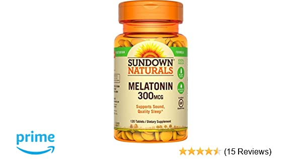 Amazon.com: (2 Pack) Sundown Naturals Melatonin, 300 mcg, Tablets, 120 tablets by Sundown: Health & Personal Care