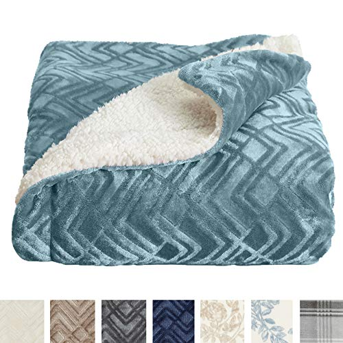 Home Fashion Designs Premium Reversible Sherpa and Sculpted Velvet Plush Luxury Blanket. Fuzzy, Soft, Warm Berber Fleece Bed Blanket Brand. (King, Blue - Blue Reversible Blanket