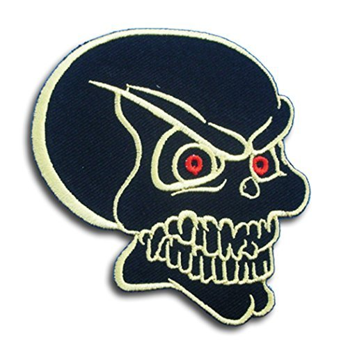 - Black Skull Red Eye for Harley Lady Rider Biker Punk Heavy Metal Hard Rock Tatto Embroidered Iron on Badge Emblem Letter Morale Patch