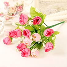 H&X Pastoral artificial small rose buds, Decorative simulation flowers, Fake silk flowers, For living room bedroom-pink