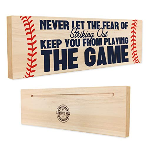 Never let the Fear of Striking Out Keep you From Playing the Game | Handmade Wood Block Sign | Inspirational Baseball or Softball Player Quote on Plaque (Art Plates Baseballs)