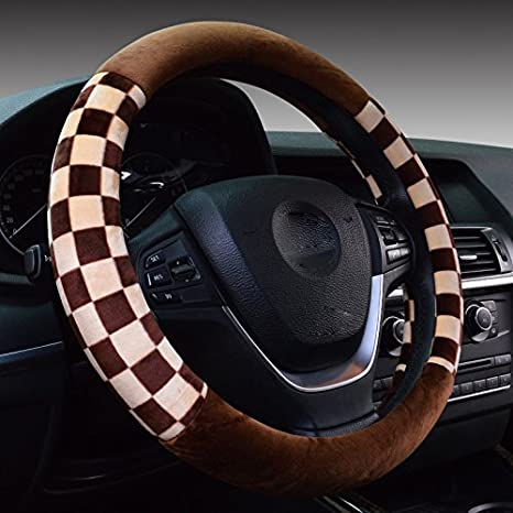 Hivel Inverno Griglia Peluche Coprivolante Auto Morbido Caldo Peloso Antiscivolo Reticolo Veicolo Copri Volante Car Steering Wheel Cover 38cm - Bianca CAR-WHEEL25-WHT