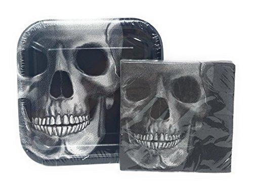 PartyDeiz Black Skull Plates and Napkis Gothic Skull -