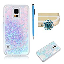 SKYXD For Samsung Galaxy S5 Liquid Case,Luxury Floating Flowing 3D Novelty Design Bling Shiny Sparkle Blue Heart Glitter Plastic Pattern Hard Back Cover Protective Skin Cell Phone Cases For Samsung Galaxy S5 + 1 x Touch Screen Stylus + 1 x Dust Plug