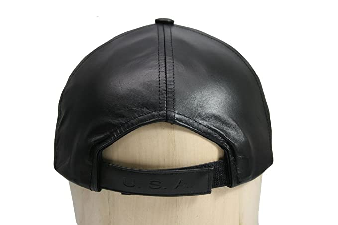 Black Leather Adjustable Baseball Cap Hat Made in USA at Amazon Men s  Clothing store  Leather Caps Hats Men 75c98f2745aa