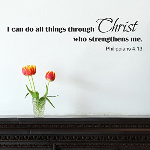 [Bible Scripture Wall Decal - I can do all things through Christ - Christian Vinyl Wall Sticker (White,] (Things That Start With Letter I)
