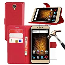 "BLU VIVO XL 2 Leather Wallet Case + Screen Protector, Gzerma Lightweight PU Leather Stand View Feature with Card Slots Cover and Shatter-proof Protective Film for BLU VIVO XL2 - 5.5"" 4G LTE Smartphone (Red)"