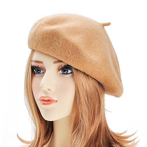 Wool Beret Hat Classic Solid Color French Beret for Women by ZLYC (Camel)