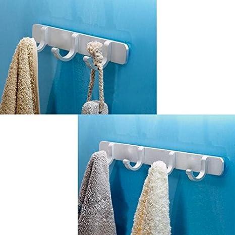 Anjuer Perchero de Pared Aluminio Colgador de Pared Percha de Baño Puerta para Baño Cocina Habitación con (2 Piezas 3 Gancho)