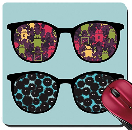 Liili Suqare Mousepad 8x8 Inch Mouse Pads/Mat Retro sunglasses with strange creatures reflection in it IMAGE ID - Strange Sunglasses