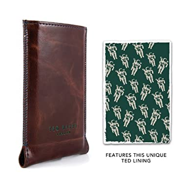 bfc56225c Ted Baker iPhone 4S Pouch Sleeve Sock Cover - Leather Style PU Pleather -  Brown with Spacemen lining  Amazon.co.uk  Electronics