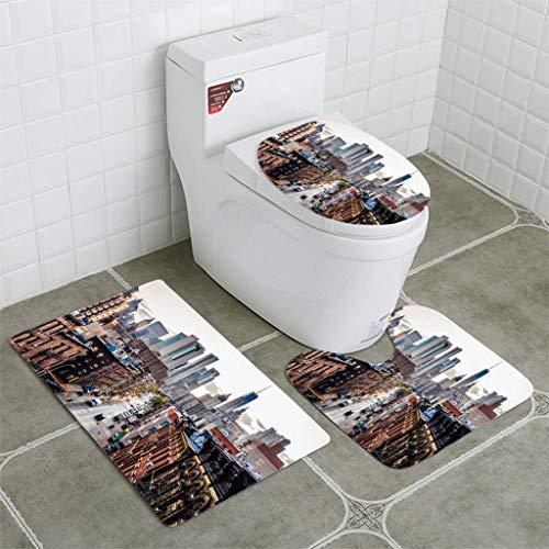 BEISISS Bathroom Mat Sets 4 Piece-Non-Slip - Short Plush Lower Manhattan Cityscape Chinatown Bathroom Rug + Contour pad + lid Toilet seat+Toilet seat Cushion