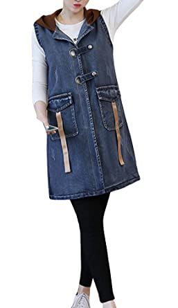 f609a20e661fd Runyue Women Buttoned Casual Sleeveless Denim Cowboy Loose Fit Hoodies Long  Tops Waistcoat Denim Vest Blue 2XL  Amazon.co.uk  Clothing