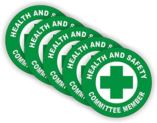 (5) Health & Safety Committee Hard Hat Stickers   Officer Helmet Decals   Durable Safe Vinyl Label Team Member