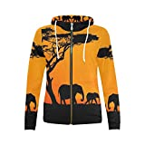 InterestPrint Custom Elephant Africa Sunset Landscape Women's Zipper Hoodies Sweatshirt M