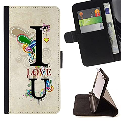 For Samsung Galaxy Note 4 IV,S-type Design I Love You Lock - Drawing PU Leather Wallet Style Pouch Protective Skin (I Pocket Covers For Samsung Note4)