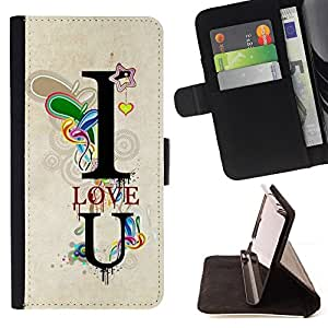 DEVIL CASE - FOR Sony Xperia Z1 L39 - Design I Love You Lock - Style PU Leather Case Wallet Flip Stand Flap Closure Cover