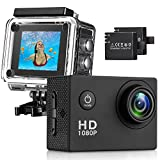 Sasrl Action Camera , 12MP 1080P 2 Inch LCD Screen , Waterproof Sports Cam 140 Degree Wide Angle Lens , 30m Sport Camera DV Camcorder With with 2 Rechargeable Batterie