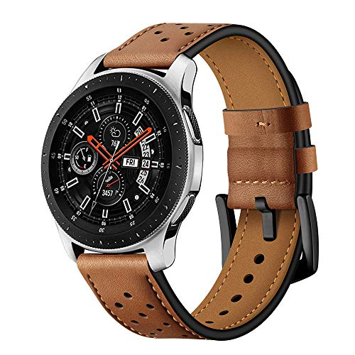 BONSTRAP Compatible with Samsung Galaxy Watch 46mm/Samsung Gear S3 22mm Leather Watch Strap Bands for Gear S3 Frontier/S3 Classic Smartwatch