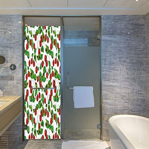 - C COABALLA Stained Glass Window Film,Fruits,for Bathroom Shower Door Heat Cotrol Anti UV,Summer Vibes with Strawberry Branch Garden Leaf Nature,24''x78''
