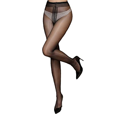 Women's High Waist Control Top Tights Sheer Shiny Pantyhose Silky Stockings (Shiny Black) at Women's Clothing store