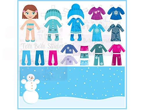 - Paper Doll Clipart, Set 3, Snow Girl, Clip Art Printed Sheet