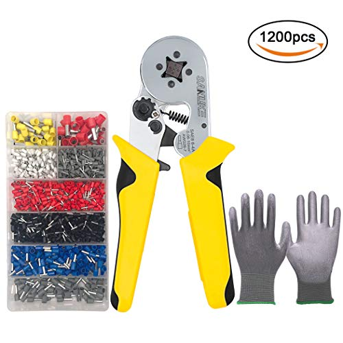 - SANUKE Crimper Plier Kit Self-adjustable Crimping Tools 1200 Terminal Connector Sleeves Square compression Used for 0.08-10mm2 (AWG26-7) Cable End sleeves ferrules Wiring Projects