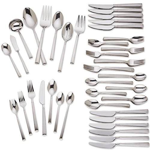 Brentwood 107-piece Stainless Flatware Set By - Knife Master Sugar Spoon Butter