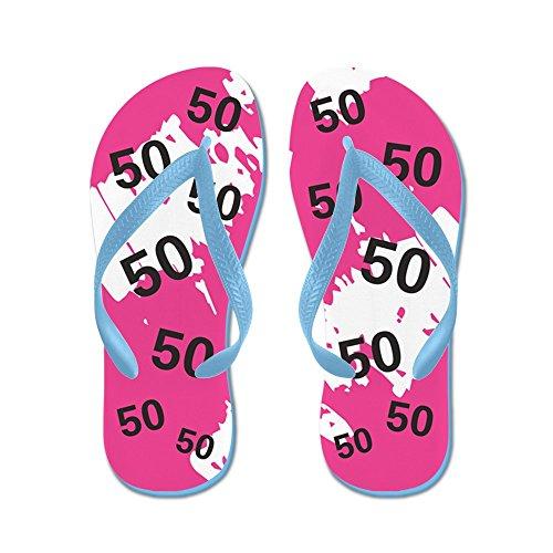 CafePress Pink 50Th Birthday Gag Gift - Flip Flops, Funny Thong Sandals, Beach Sandals Caribbean Blue