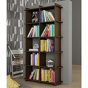 Manhattan Comfort Gisborne 1.0 Series 10 Shelf Bookcase in Tobacco