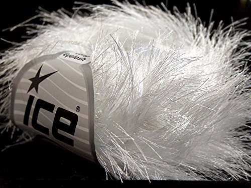 Eyelash Yarn Long (White Extra Long Eyelash Yarn Ice Luxurious Fun Fur 50gr 38yds)
