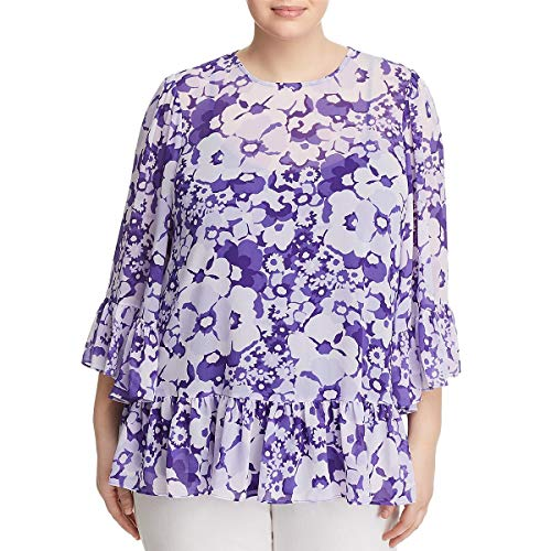 Michael Michael Kors Womens Plus Springtime Floral Print Blouse Purple 3X