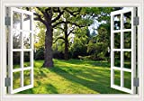 3D Window Scenes Wall Stickers Garden Green Trees Forest Wall Decor Decal Removable Wallpaper Murals for Living Room Home Decorations-24x36 inches