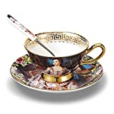 NDHT Bone China Teacups/Coffee Cups & Saucers Sets with Spoons-6.7Oz, for Home, Restaurants, Display & Holiday Gift,With Gift Box(1 Set)