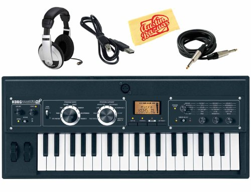 Korg microKORG XL+ 37-Key Synthesizer/Vocoder with Expanded PCM Bundle with Instrument Cable, USB Cable, Headphones, and Polishing ()
