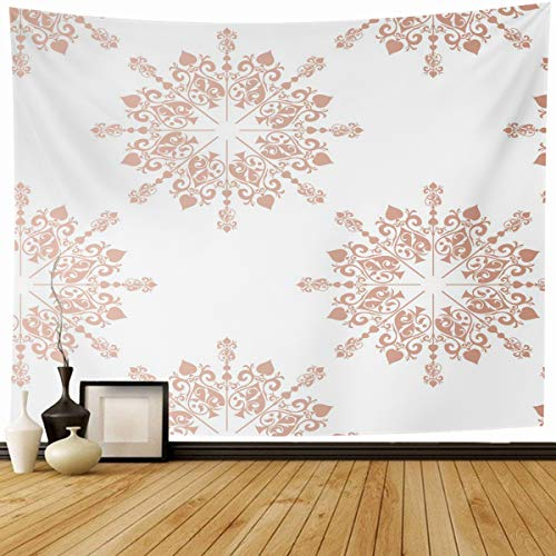 Ahawoso Tapestry Wall Hanging 80x60 Baby Pink Pattern Rose Gold Large Floral Lace Tone Toile Blush Announcement Birthday Border Home Decor Tapestries Decorative Bedroom Living Room Dorm