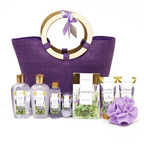 Spa Luxetique Lavender Spa Gift Baskets for Women, Premium 9pc Gift Baskets, Deluxe Spa Tote Bag with Wooden Handle, Bath Salt, Hand Soap, Hand Cream, Shower Gel and Moe! Best Holiday Gift Set. ()