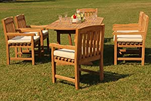 "Grade-A Teak Wood 6 Seater 7 Pc Dining Set: 94"" Mas Oval Trestle Leg Table and 6 Devon Arm/Captain Chairs #WFDSDV17"