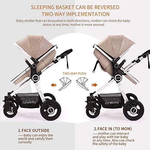 51G5sjVcHiL - Baby Stroller Bassinet Pram Carriage Stroller - Cynebaby All Terrain Vista City Select Pushchair Stroller Compact Convertible Luxury Strollers Add Foot Cover (Light Brown)