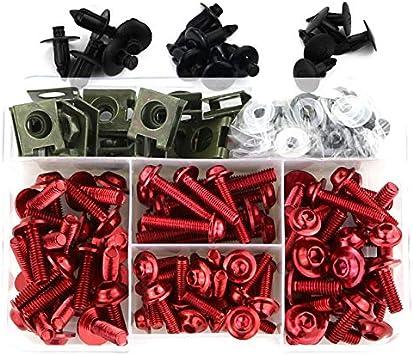 Motorrad Voll Verkleidung Schrauben Kit Schrauben for Yamaha FZ1 FZ6 FZ8 MT01 MT-125 MT07 FZ-07 MT09 FZ-09 MT10 MT15 XJR400 XJR1300 Color : 8mm red LIWENCUI