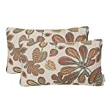 Mika Home Set of 2 Jacquard Tropical Leaf Pattern Oblong Throw Pillow Covers Accent Pillowcase 12X20 Inches,Teal Cream