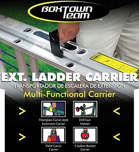 Boxtown Team Extension Ladder Carrier (Yellow) Ladder Handle, Ladder Accessory, Ladder Safety Device, Drill Gun Holster, Ladder Holster, Ladder Paint can Holder, a-Frame Ladder Paint can Holder