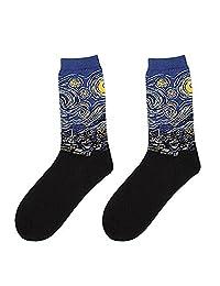 XY Fancy Men Personality Art Retro Oil Painting Pattern Casual Socks