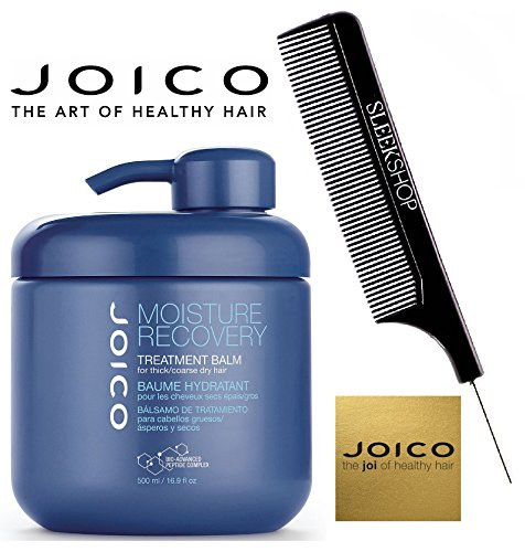Joico MOISTURE RECOVERY Treatment Balm for THICK/COARSE Dry Hair (with Sleek Steel Pin Tail Comb) (16.9 oz / 500 ml - with PUMP)