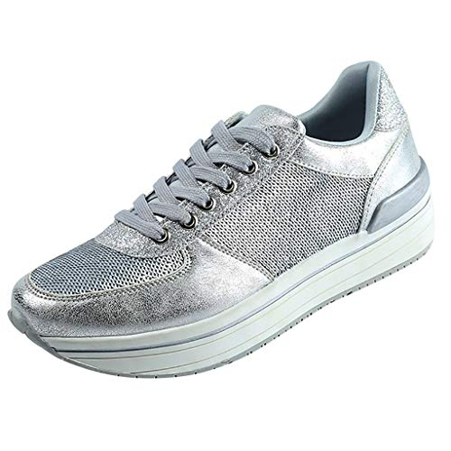 (Yiwanjia◕ˇ∀ˇ◕ Lace Up Sneakers for Women Wedges Sneakers Lightweight Breathable Shake Shoes Fashion Girls Sport Shoes (US:6,Silver))