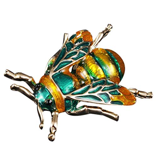 Gbell Women Girls Fashion Bumblebee Enamel Brooches,Alloy Animal Colorful Pins Brooch for Party ,Birthday, Valentine's Day Jewelry Gifts,Green,Black (Green)