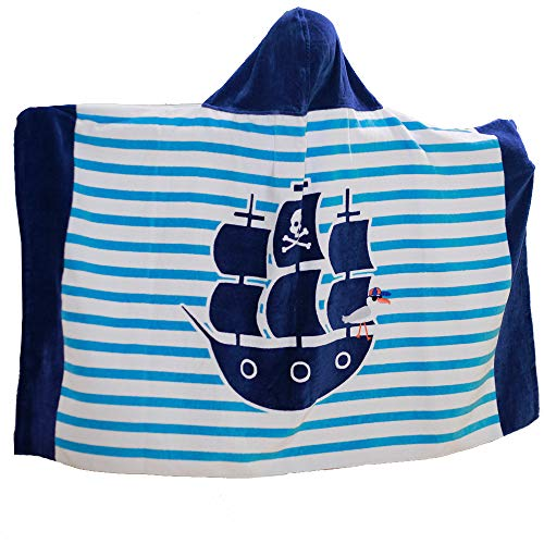 AteAte Cute Cartoon Baby Kid's Hooded Bath Towel Toddler Boy Girls Beach Towel New 100% Cotton 400 GSM(Pirate)