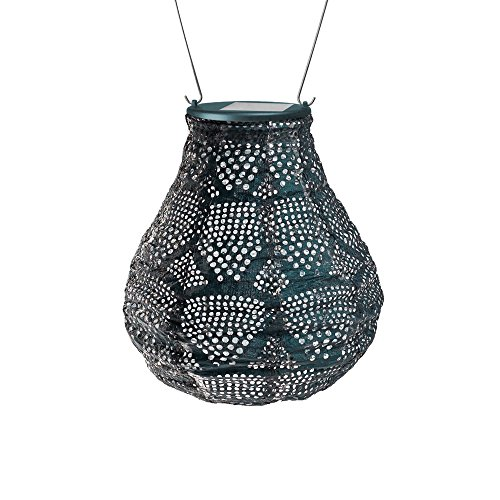 Allsop Home & Garden Soji Stella Ink Wave Bulb LED Outdoor Solar Lantern, Handmade with Weather-Resistant Tyvek Fabric, Auto on/Off, Color (Ink Wave)