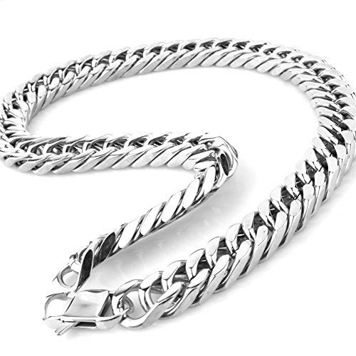 20mm Curb Chain Necklace - Mens Stainless Steel Large Heavy Silver Tone 7-40 inch 17MM Curb Chain Link Necklace Bracelet