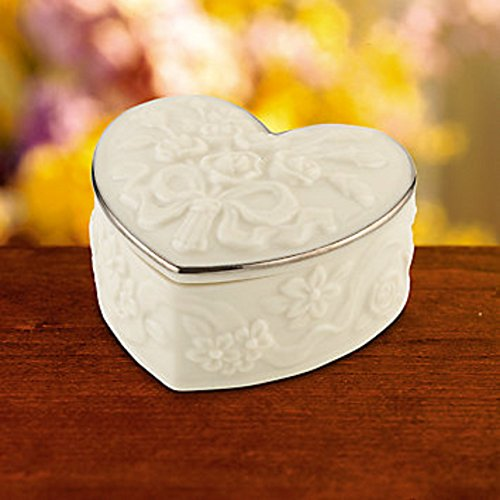 Lenox Wedding Heart Box Favor Set of 10 Sculpted Roses Platinum Keepsake Gift